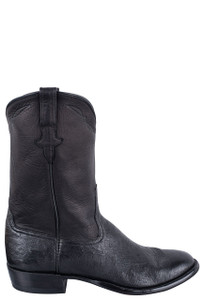 Rios of Mercedes Men's Black Smooth Ostrich Roper Boots - Side