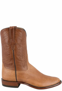 Rios of Mercedes Men's Cognac Smooth Ostrich Roper Boots - Side