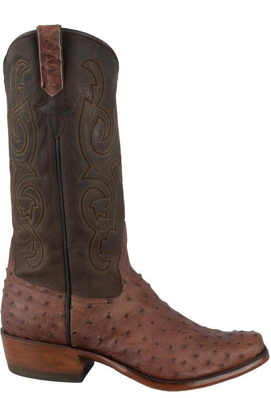 Rios of Mercedes Men's Kango Tobacco Lux Full-Quill Ostrich Boots  - Side