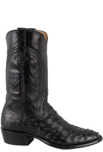 Rios of Mercedes Men's Black Americano Full-Quill Ostrich Boots - Side