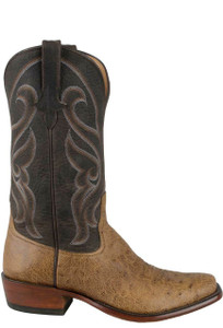 Rios of Mercedes Men's Peat Vintage Smooth Ostrich Boots - Side