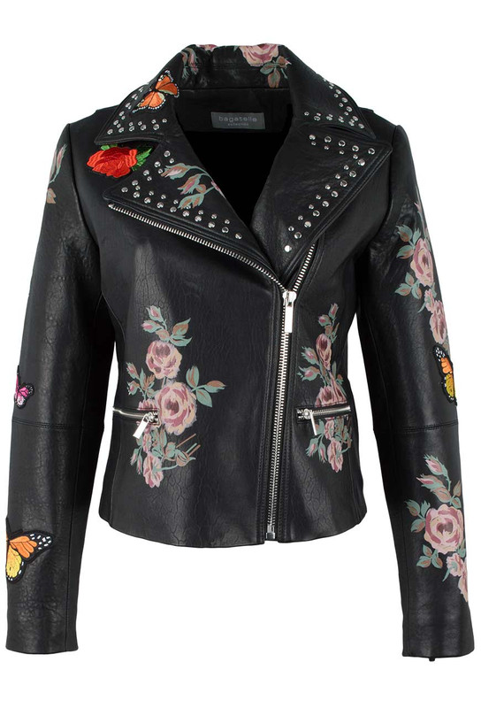 Bagatelle Moto Jacket with Painted Floral - Front