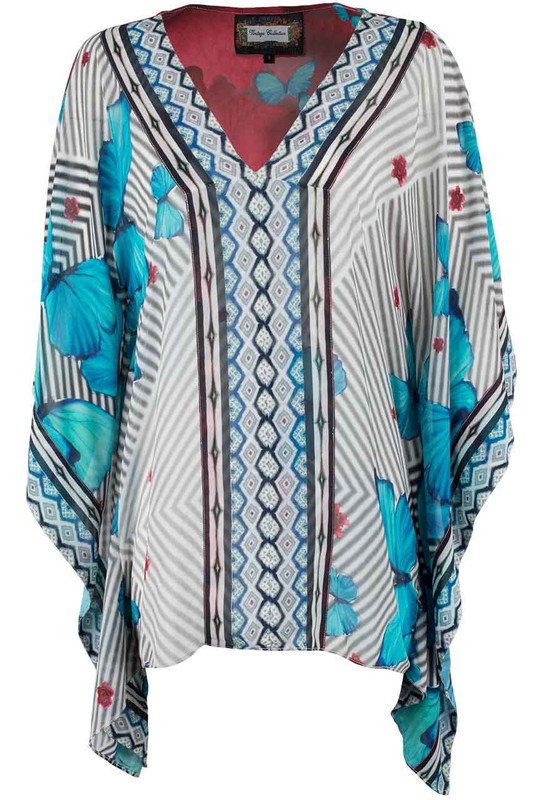 Vintage Collection Butterfly Rose Poncho - Front