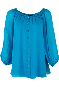 Vintage Collection Peasant Top - Blue - Front