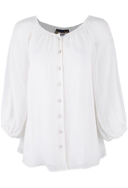 Vintage Collection Peasant Top - White - Front