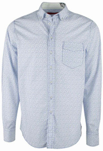 Georg Roth White and Blue Pebble Print Shirt - Front