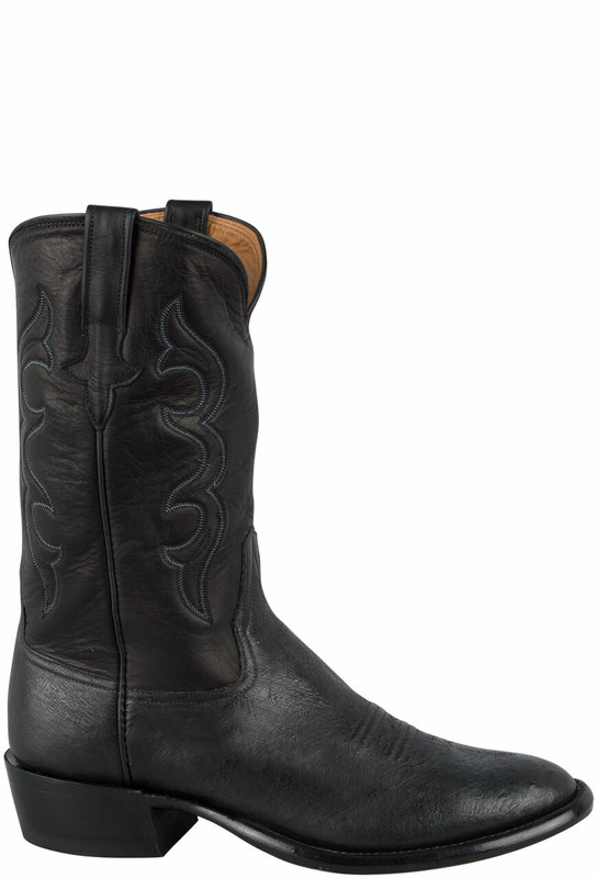 Rios of Mercedes Men's Black Smooth Ostrich Boots - Side