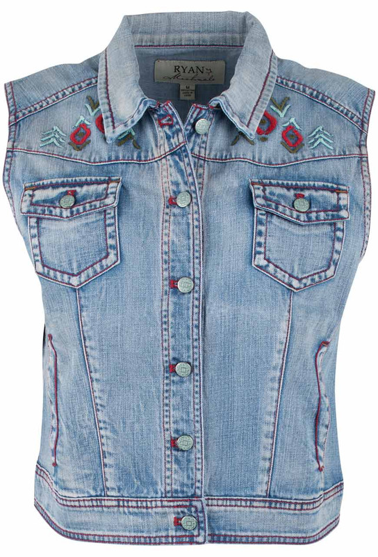 Ryan Michael Southwest Embroidered Vest - Front