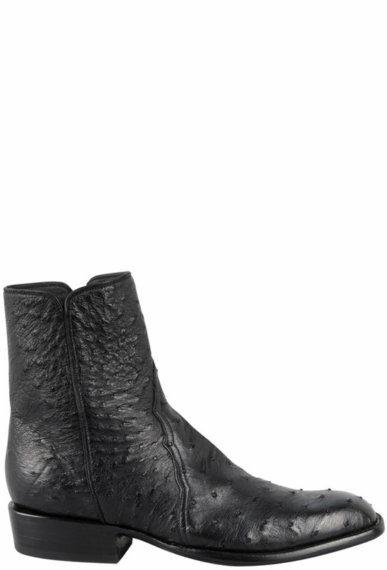 STALLION MEN'S ZORRO BLACK FULL-QUILL SMOOTH OSTRICH ANKLE BOOTS