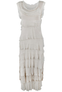 Gigi Sleeveless Long Ruffle Dress - Creme - Front