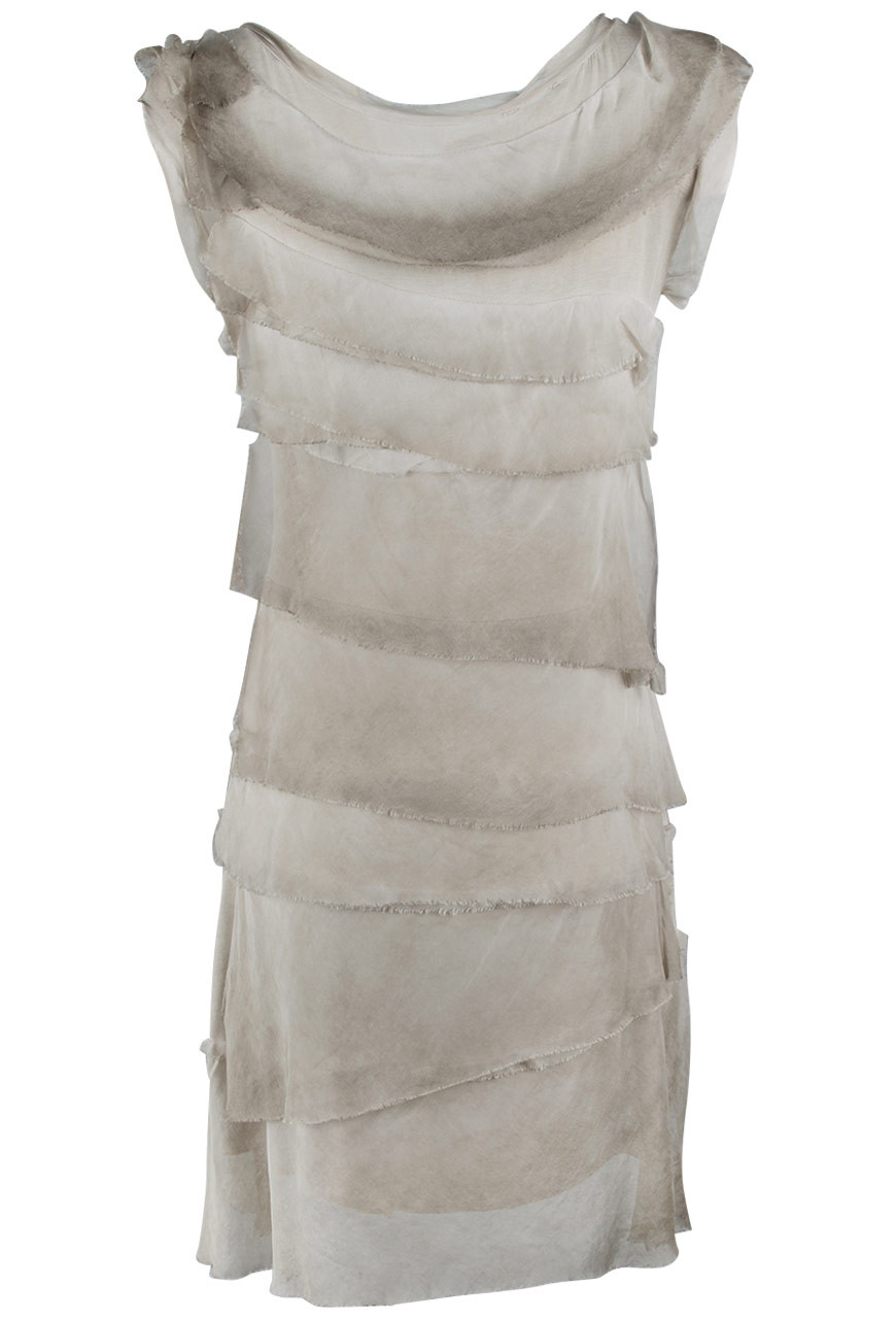 9616845811044f Gigi Sleeveless Short Ruffle Dress - Taupe - Back