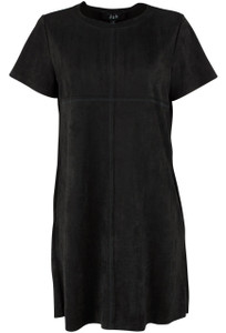 Joh Aubrey Short Sleeve Faux Suede Dress - Black - Front
