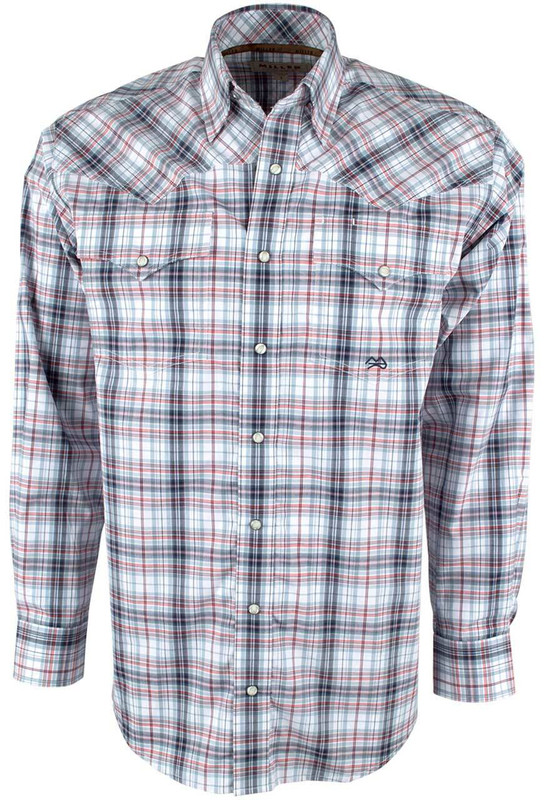 Miller Ranch Red and Blue Plaid Snap Shirt - Front