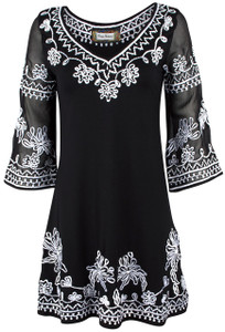 Vintage Collection Lapis White Embroidery Knit Dress - Front