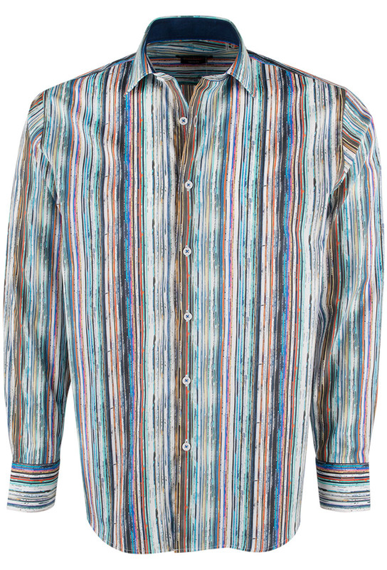 Bugatchi Paradise Abstract Stripe Shirt - Front