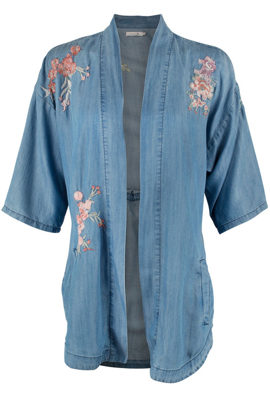 Billy T Embroidered Denim Kimono -Front