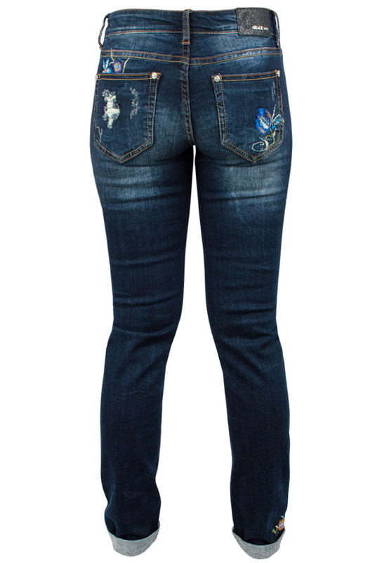 44db8a36ad4 Grace in L.A. Junior Distress Floral Embroidered Straight Leg Skinny Jeans  Back