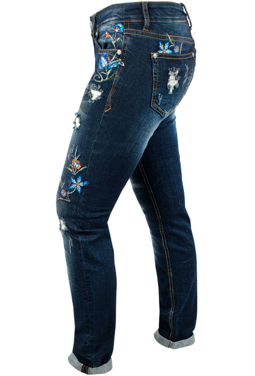 9eaab563971 Grace in L.A. Junior Distress Floral Embroidered Straight Leg Skinny Jeans  Side