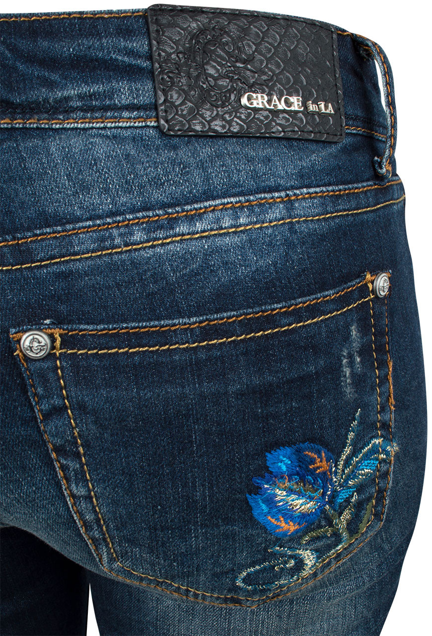 2a47e238cce Grace in L.A. Junior Distress Floral Embroidered Straight Leg Skinny Jeans  Back Pocket