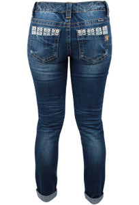 Miss Me Needlepoint Signature Cuffed Skinny Jean- Back