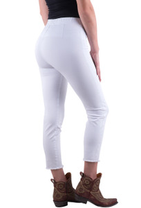 Lysse White Lexi Twill Frayed Hem Leggings