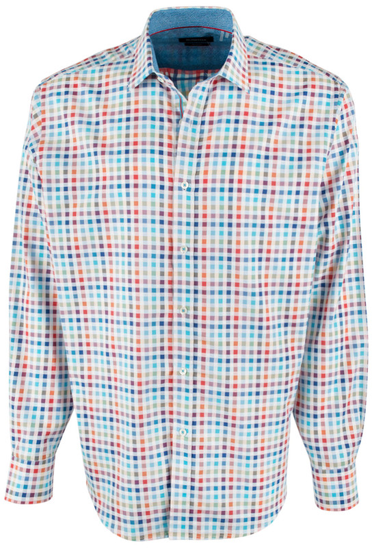 Bugatchi Chalk Multi Graph Shirt - Front