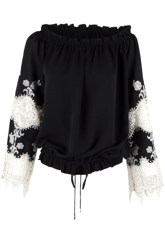 Alberto Makali Black and White Lace Peasant Top - Front