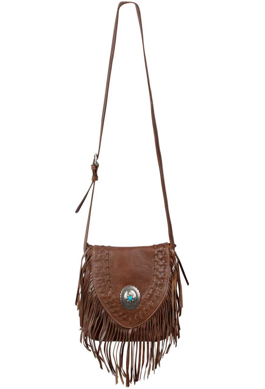 American West Seminole Fringe Crossbody - Chocolate - Front