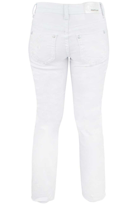 Grace in L.A. Junior White Embroidered Bootcut Jeans - Back
