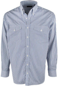 Pinto Ranch YY Collection Navy, White and Blue Stripe Shirt - Front