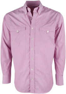 Lyle Lovett for Hamilton Magenta with White Stripe Poplin Shirt - Front