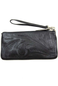 Leaders in Leather Tooled Wristlet Clutch - Black