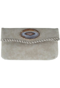 Wimberly Agate Laced Clutch - Grey - Front