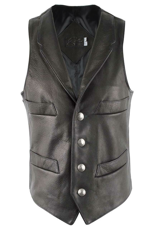 Jose Luis Black Italian Calf Leather Vest - Front