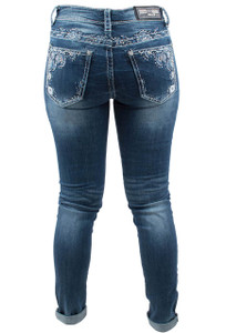 Grace in L.A. Easy Fit Blue Floral Skinny Jeans - Back