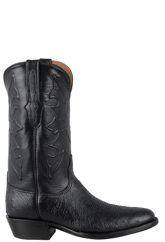 Black Jack for Pinto Ranch Men's Black Smooth Ostrich Boots -Side