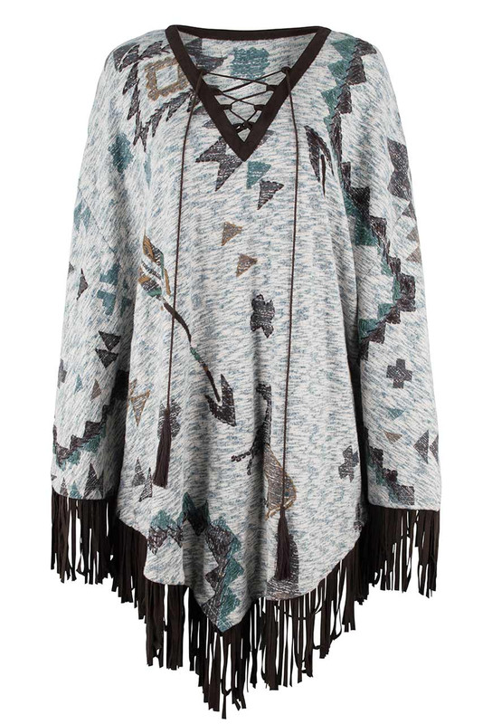 Double D Ranch Storyteller Poncho - Front