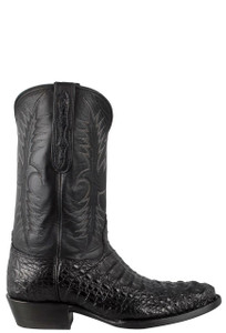 Black Jack for Pinto Ranch Men's Black Matte Hornback Caiman Headcut Boots  - Side