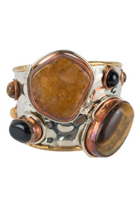 David Jeffrey Tiger's Eye and Mixed Metal Cuff - Front
