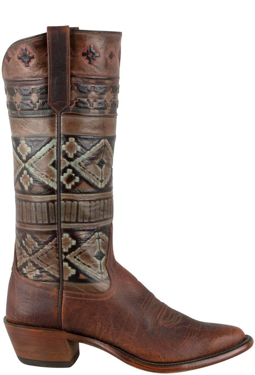 99261323e7a Rios of Mercedes Women's Coffee Santa Fe Embossed Bison Boots