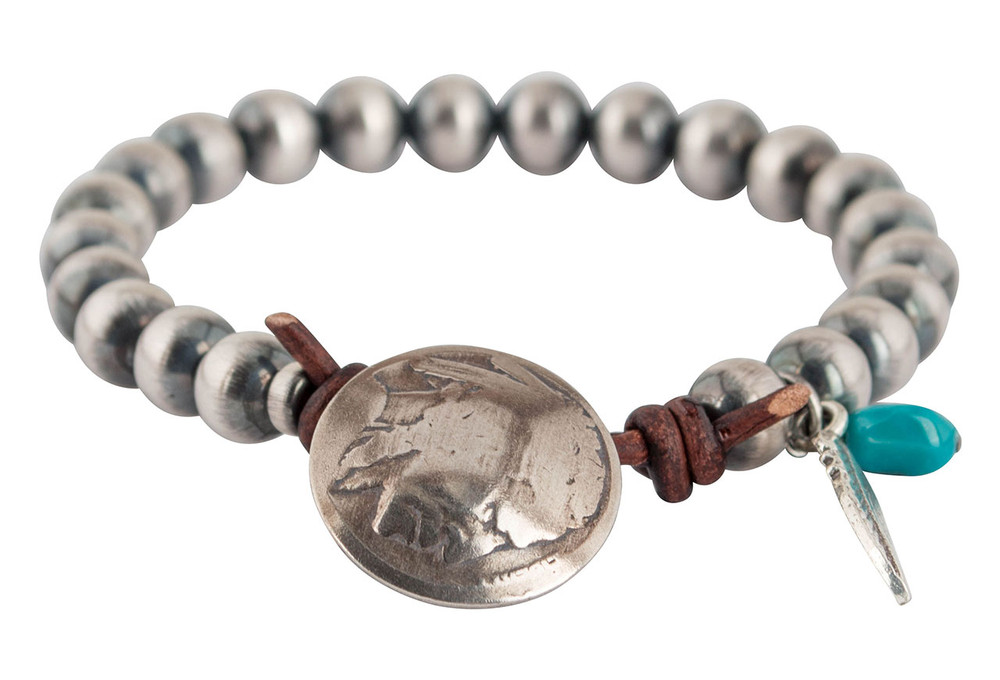 Turquoise Moon Buffalo Coin Sterling Silver Bead Bracelet