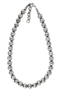 """Turquoise Moon 22"""" Sterling Silver 14MM Bead Necklace"""