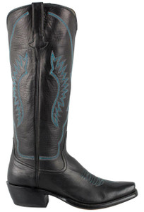 Rios of Mercedes Women's Black Sleek Buffalo Calf Boots - Side