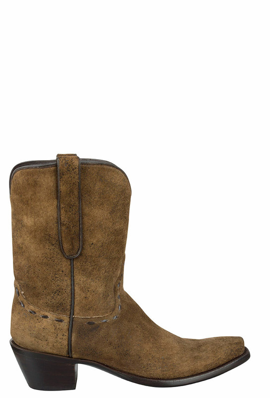 STALLION VINTAGE CAMEL DISTRESSED LAMB SUEDE BOOTS