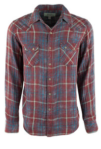 Ryan Michael Double Face Barn Red Plaid - Indigo - Front