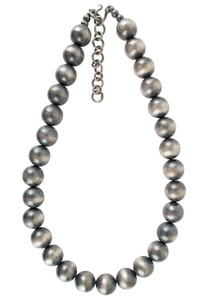 """Turquoise Moon 20"""" Sterling Silver Navajo Pearl 16MM Bead Necklace -Full-Shoot"""