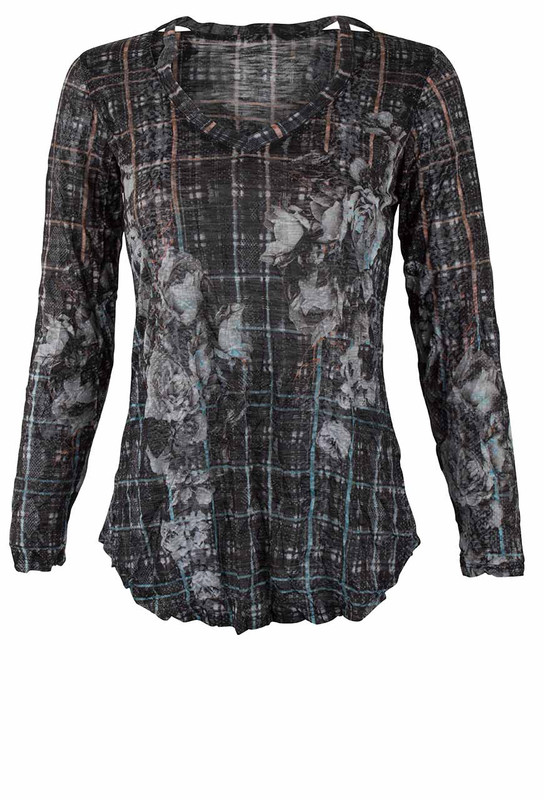 David Cline Crushed Antique Long Sleeve Top - Front