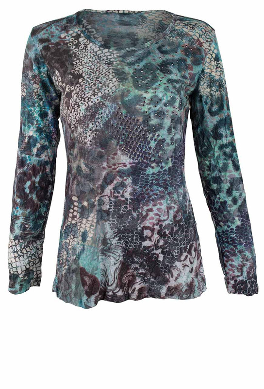 David Cline Crushed Snake Long Sleeve Top - Front