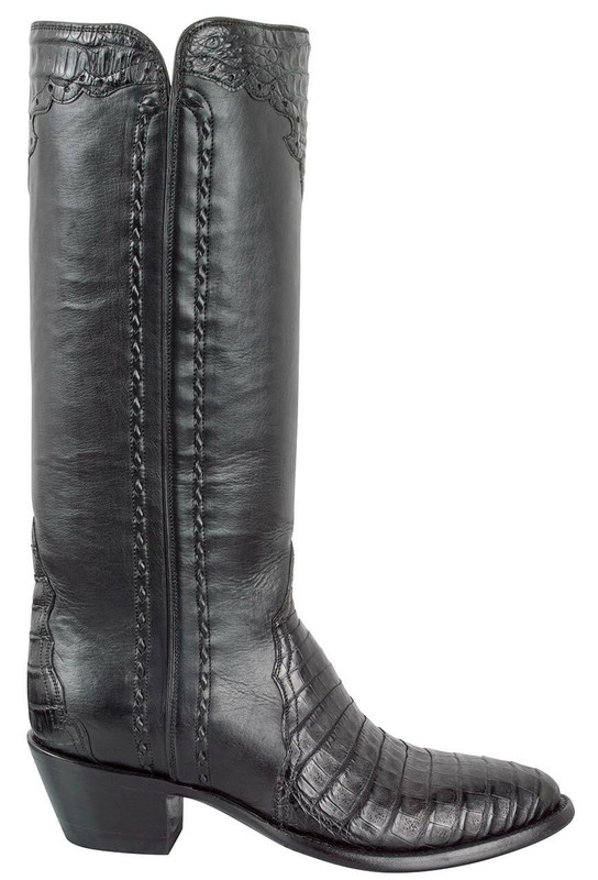 STALLION WOMEN'S BLACK CAIMAN MAJESTIC ZIPPER BOOTS