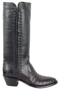 Stallion Women's Black Caiman Majestic Zipper Boots - Side